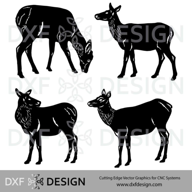Elk Cow Calf Collection 2 DXF File For CNC Plasma