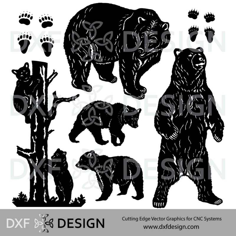 Bears DXF File, Silhouette Vector Art for CNC Plasma, Laser or Water Jet Cutting