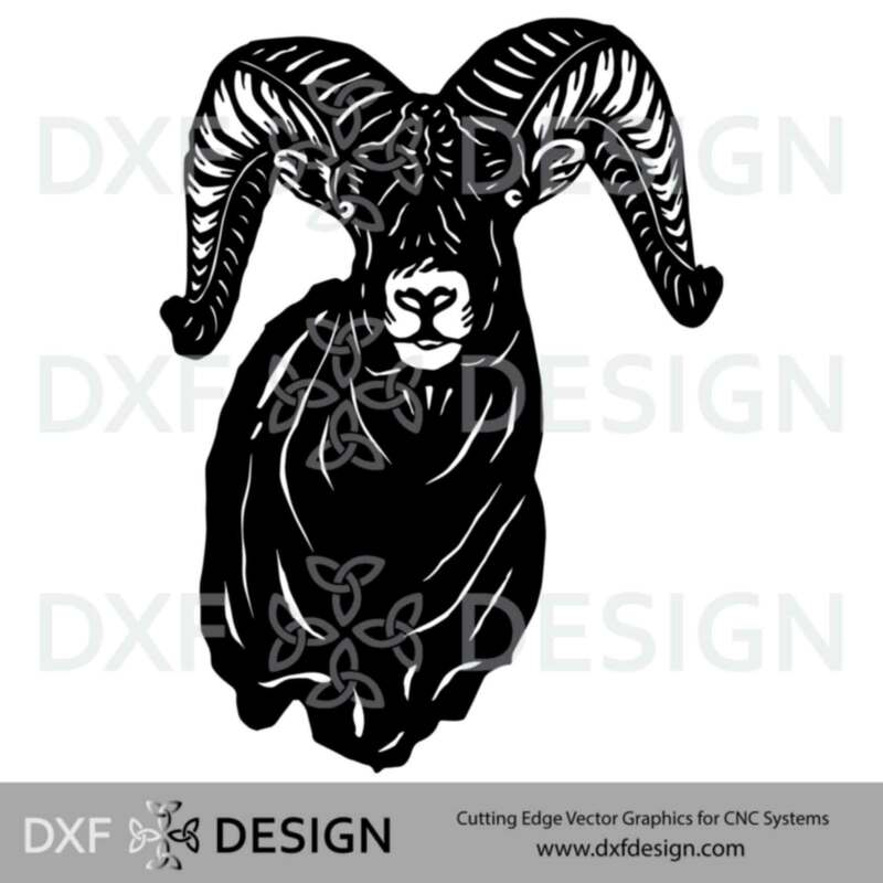 Big Horn Ram DXF File, Silhouette Vector Art for CNC Plasma, Laser or Water Jet Cutting