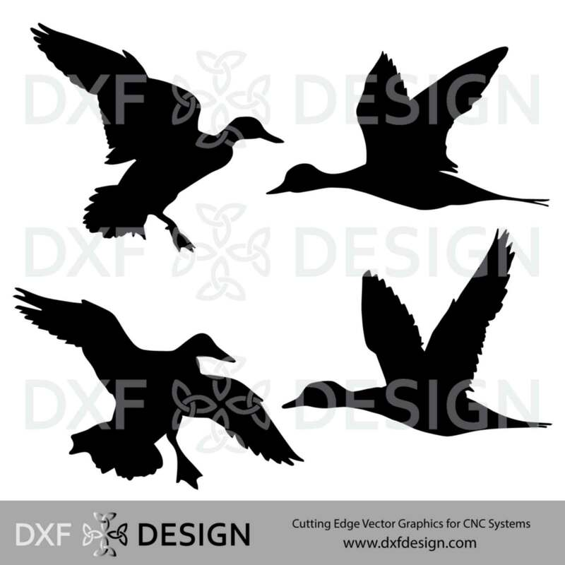 FREE DXF File, Ducks Silhouette Vector Art for CNC Plasma, Laser or Water Jet Cutting