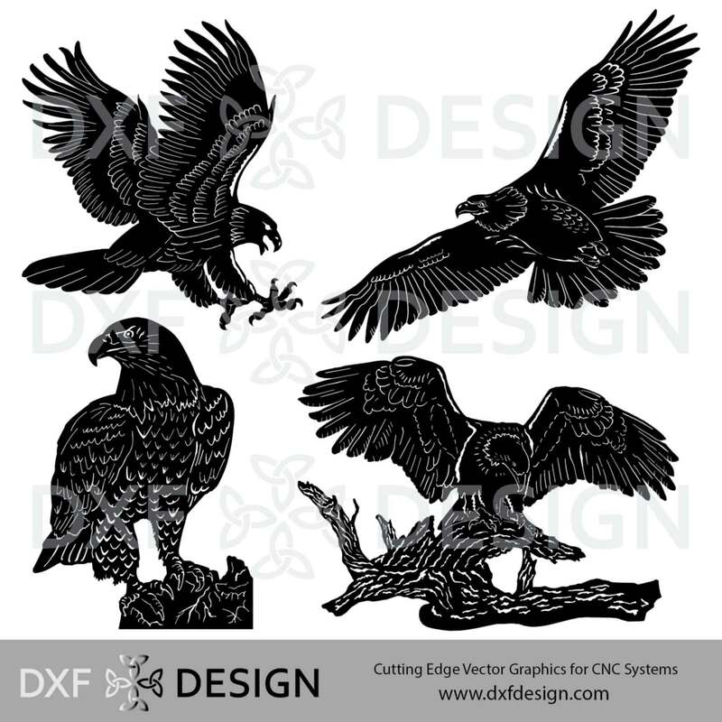 Eagles DXF File, Silhouette Vector Art for CNC metal art projects