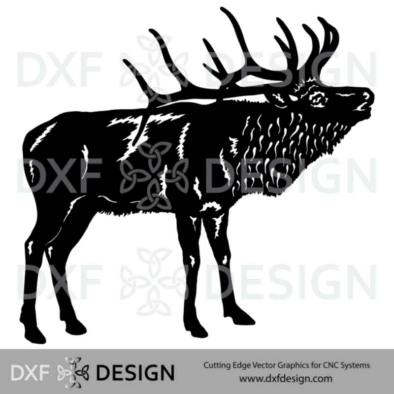 Bull Elk DXF File, Silhouette Vector Art for CNC Plasma, Laser or Water Jet Cutting