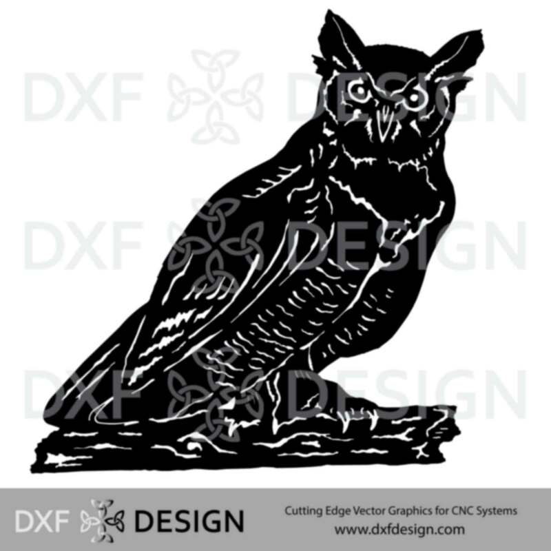 Horned Owl DXF File, Silhouette Vector Art for CNC Plasma, Laser or Water Jet Cutting
