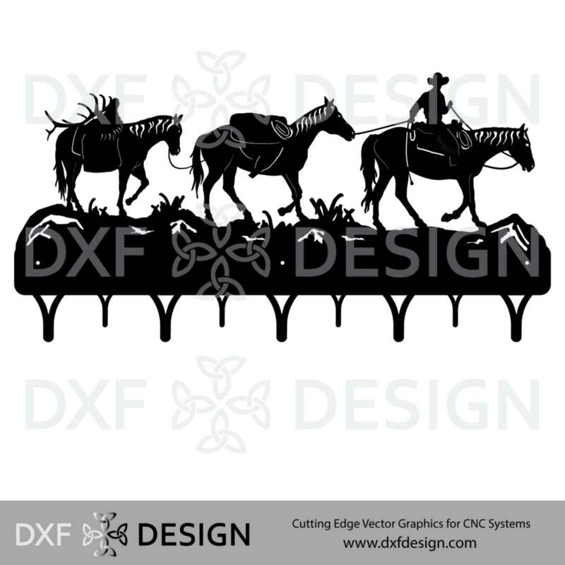 Horse Pack String Coat Rack DXF File, Silhouette Vector Art for CNC Plasma, Laser or Water Jet Cutting