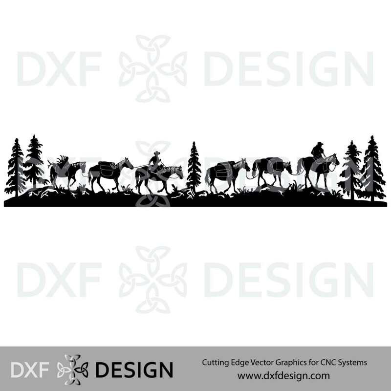 Horse Pack String DXF File, Silhouette Vector Art for CNC Plasma, Laser or Water Jet Cutting