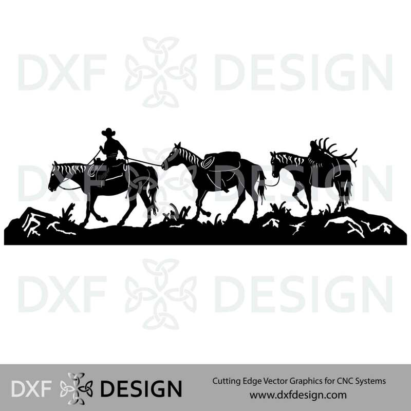 Horse Pack Train DXF File, Silhouette Vector Art for CNC Plasma, Laser or Water Jet Cutting