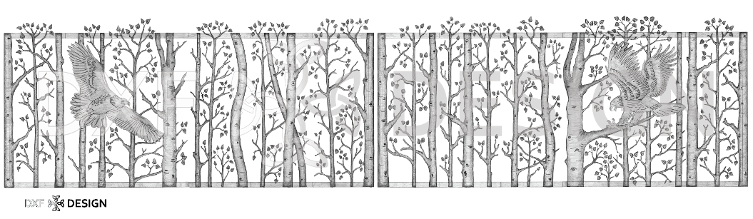 Birch Trees and Eagle Gate by DXF Design #dxfdesign #dxf #plasma #laser #waterjet #cnc #metalart #welding