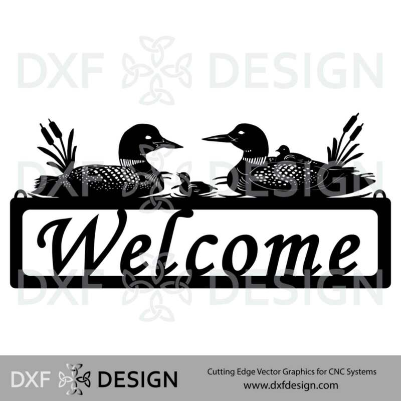 Loons Welcome Sign DXF File, Silhouette Vector Art for CNC Plasma, Laser or Water Jet Cutting