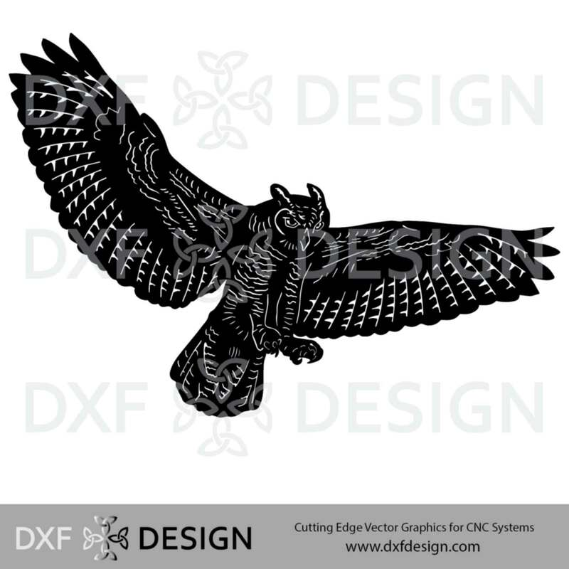 Owl Landing DXF File, Silhouette Vector Art for CNC Plasma, Laser or Water Jet Cutting