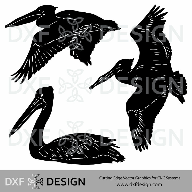 Pelicans DXF File, Silhouette Vector Art for CNC Plasma, Laser or Water Jet Cutting