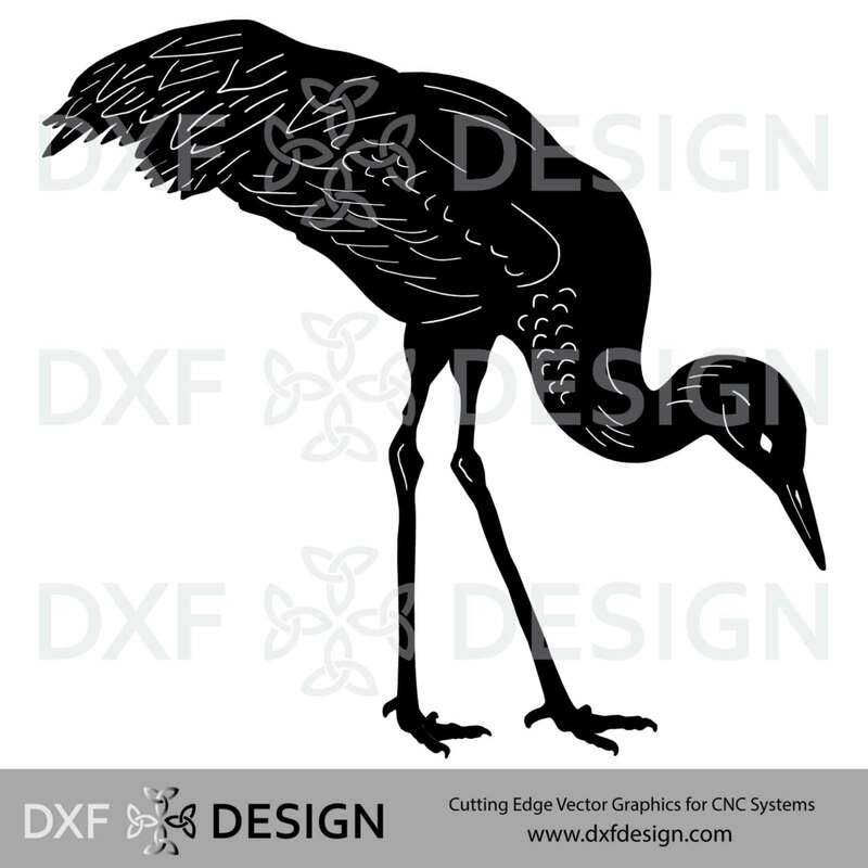 Sandhill Crane DXF File, Silhouette Vector Art for CNC Plasma, Laser or Water Jet CuttingPicture