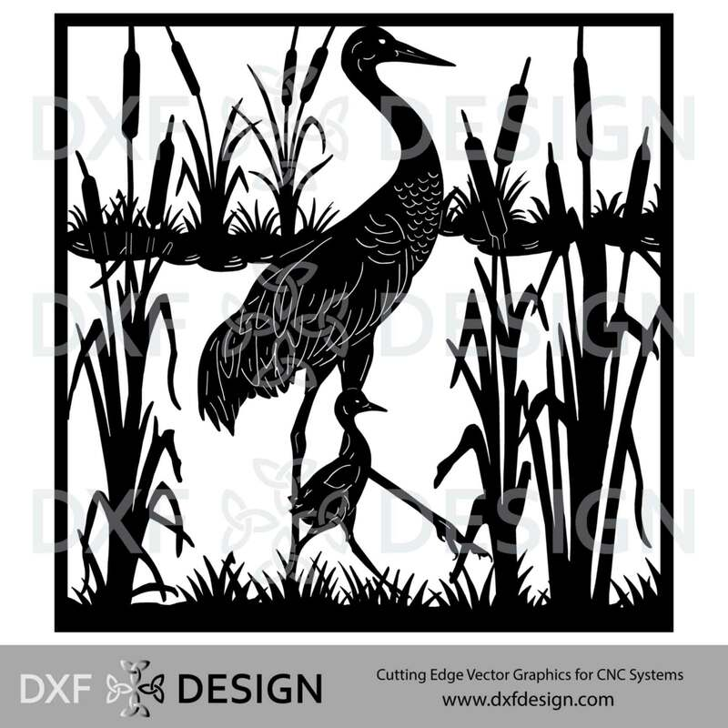 Sandhill Crane DXF File, Silhouette Vector Art for CNC Plasma, Laser or Water Jet Cutting