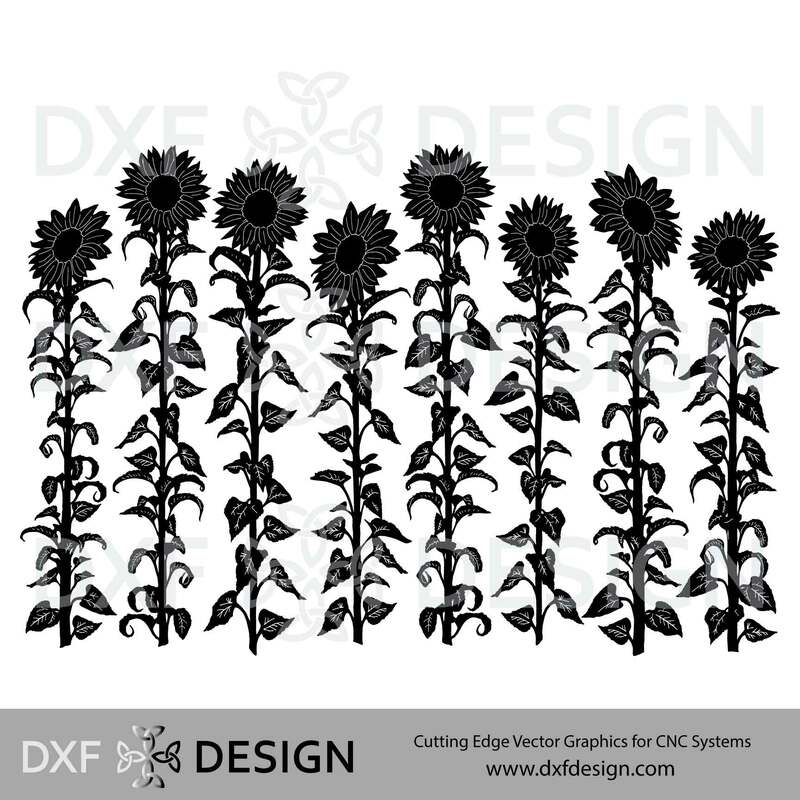 Sunflowers DXF File, Silhouette Vector Art for CNC Plasma, Laser or Water Jet Cutting