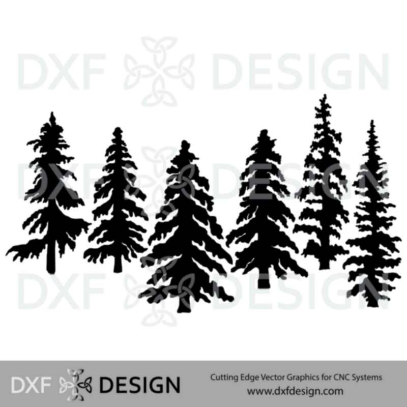 Trees DXF File, Silhouette Vector Art for CNC Plasma, Laser or Water Jet Cutting